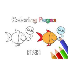 cartoon fish coloring book vector image vector image