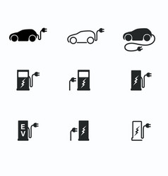 electric powered car and charging point icons vector image vector image