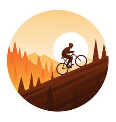 mountain bike climbing round icon vector image vector image