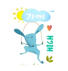 Rabbit jumping rope for kids vector image vector image