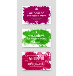 Set of Bright Watercolor Invitations in vector image vector image