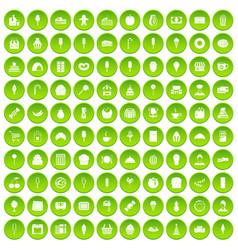 100 dessert icons set green vector