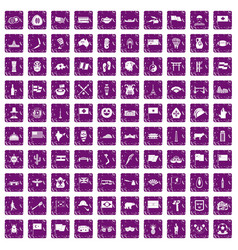 100 national flag icons set grunge purple vector image
