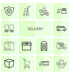 14 delivery icons vector image