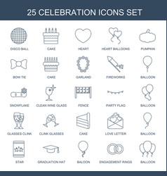 25 celebration icons vector image