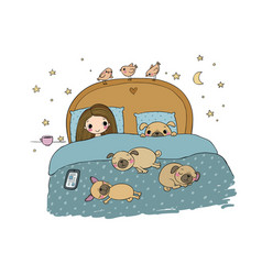 A little girl and cute pugs are sleeping on the vector