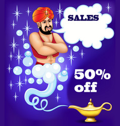 a magic genie from a lamp ready to fulfill wishes vector image