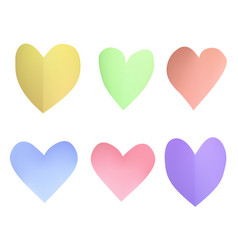 a set of pastel paper hearts vector image