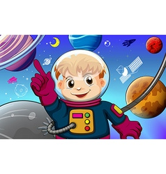 Astronaut with planets concept vector