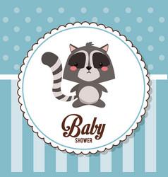 baby shower card invitation cute raccoon vector image