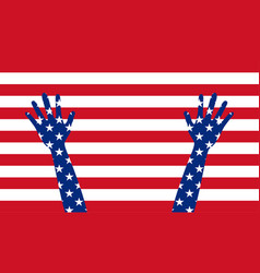 banner poster american flag with hands vector image