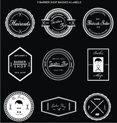 Barber Shop Badges Labels vector image