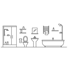 bathroom concept background outline style vector image