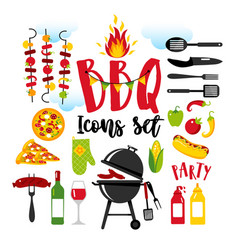 bbq party set icons on white background with vector image
