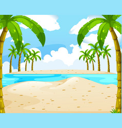beach with coconut trees vector image