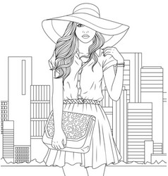 Beautiful girl in a hat vector