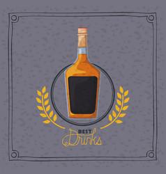 Best drink bottle liquor frame vector