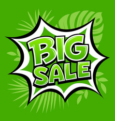 big sale banner green message template vector image