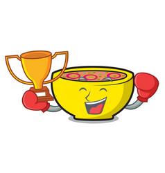 Boxing winner soup union mascot cartoon vector
