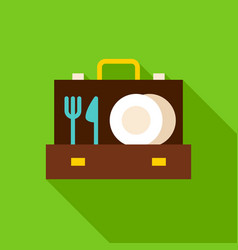 Briefcase with utensils object icon vector
