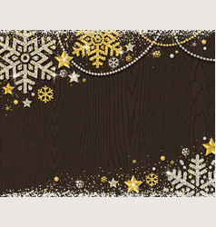 brown christmas wooden background with frame of vector image