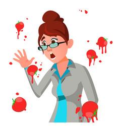 business woman having tomatoes fail speech vector image