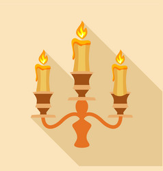 Candelabra candle icon flat style vector