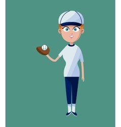 cartoon girl baseball player glove ball and cap vector image