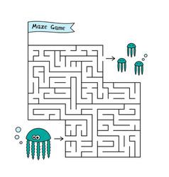 cartoon jellyfish maze game vector image