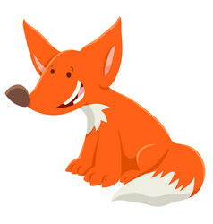 cartoon red fox funny animal character vector image
