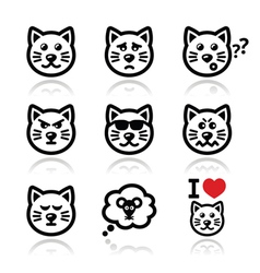 cat icons set - happy sad angry isolated on whit vector image
