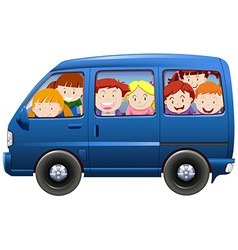 Children having carpool in blue van vector