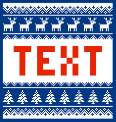 christmas pixel template for text with pattern vector image