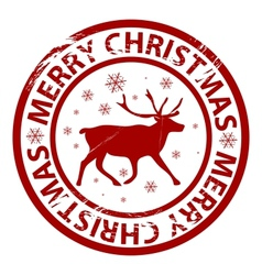 Christmas rubber stamp vector image