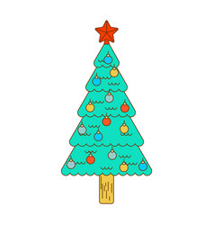 christmas tree decorated with balls isolated vector image