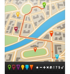 City map with navigation icons vector