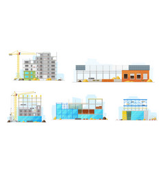 construction buildings store and warehouse icons vector image