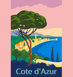 Cote d azur france travel poster retro old city vector