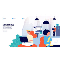 coworking landing page office people freelance vector image