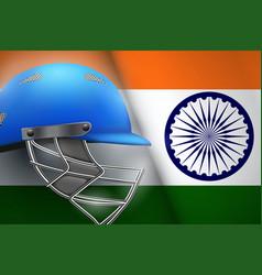 Cricket helmet and india flag vector