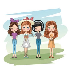 Cute girls friends cartoon vector