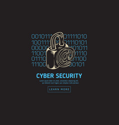 cyber security safety web design with a lock and vector image
