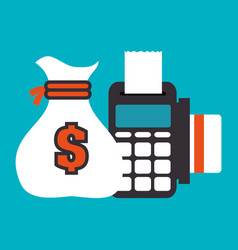 Dataphone and bag money isolated vector