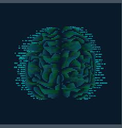 Digital brain vector