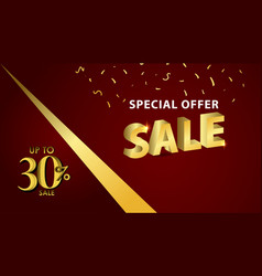 Discount up to 30 special offer gold banner vector