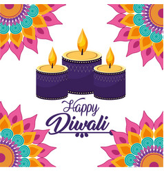 Diwali candles lits with mandalas flowers vector