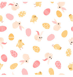 easter texture made cute rabbits chickens and eggs vector image