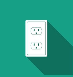 electrical outlet in the usa icon with long shadow vector image