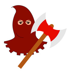 Executioner with axe on white background vector