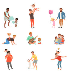 fathers playing having fun together and enjoying vector image